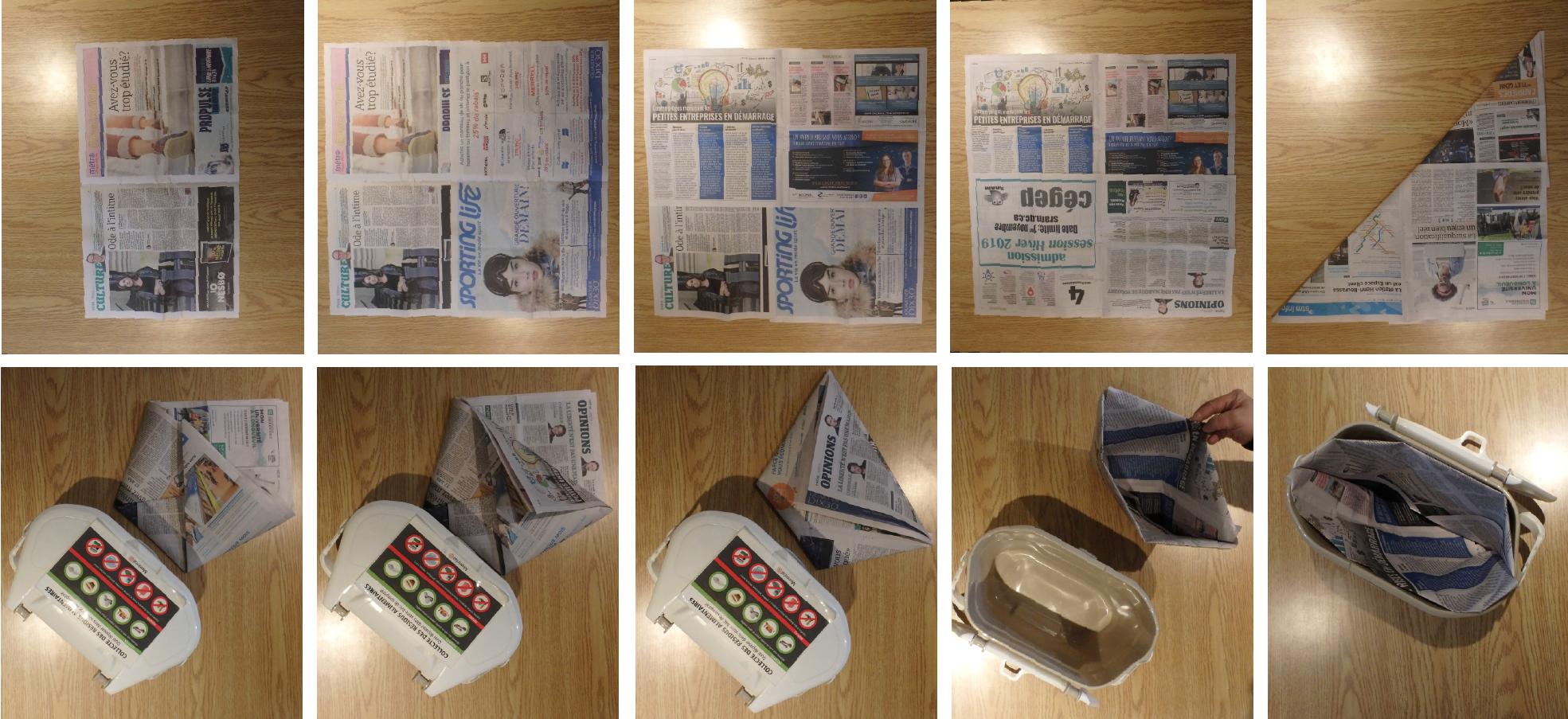 comment faire un sac de papier journal pour le bac de. Black Bedroom Furniture Sets. Home Design Ideas